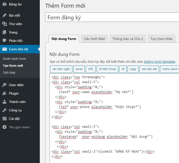 Làm thế nạo tạo Form 3 cột bằng Plugin Contact Form 7 đẹp mắt